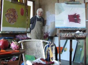 Elizabeth Blackadder in her studio, November 2010