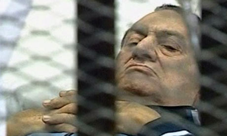 Hosni Mubarak on trial in Cairo today