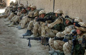 Royal Marine Commandos in the town of Barikju, Northern Helmand, Afghanistan.