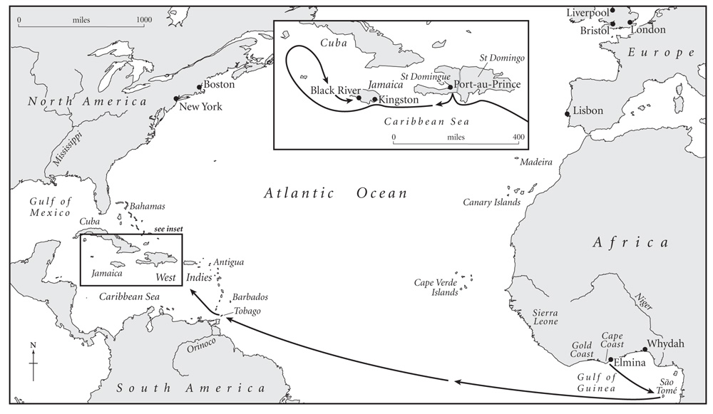 The route taken by the Zong, 18 August–22 December 1781.