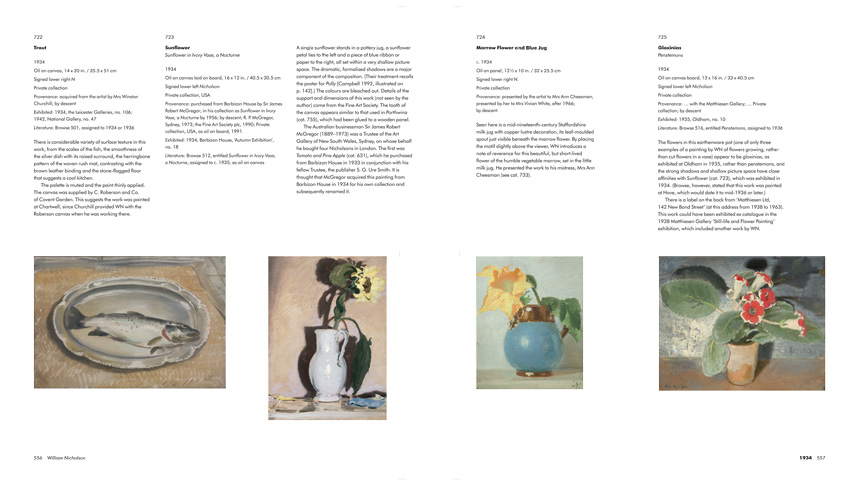 Page Spreads from 'William Nicholson: A Catalogue Raisonne of the Oil Paintings'