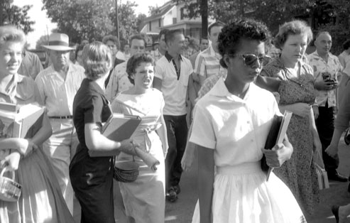 The photograph that shamed America: Elizabeth Eckford, followed and taunted by an angry crowd (including Hazel Bryan), after she was denied entry to Little Rock Central High School, 4 September 1957