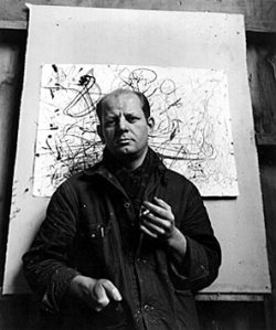 A photograph of Jackson Pollock by Arnold Newman