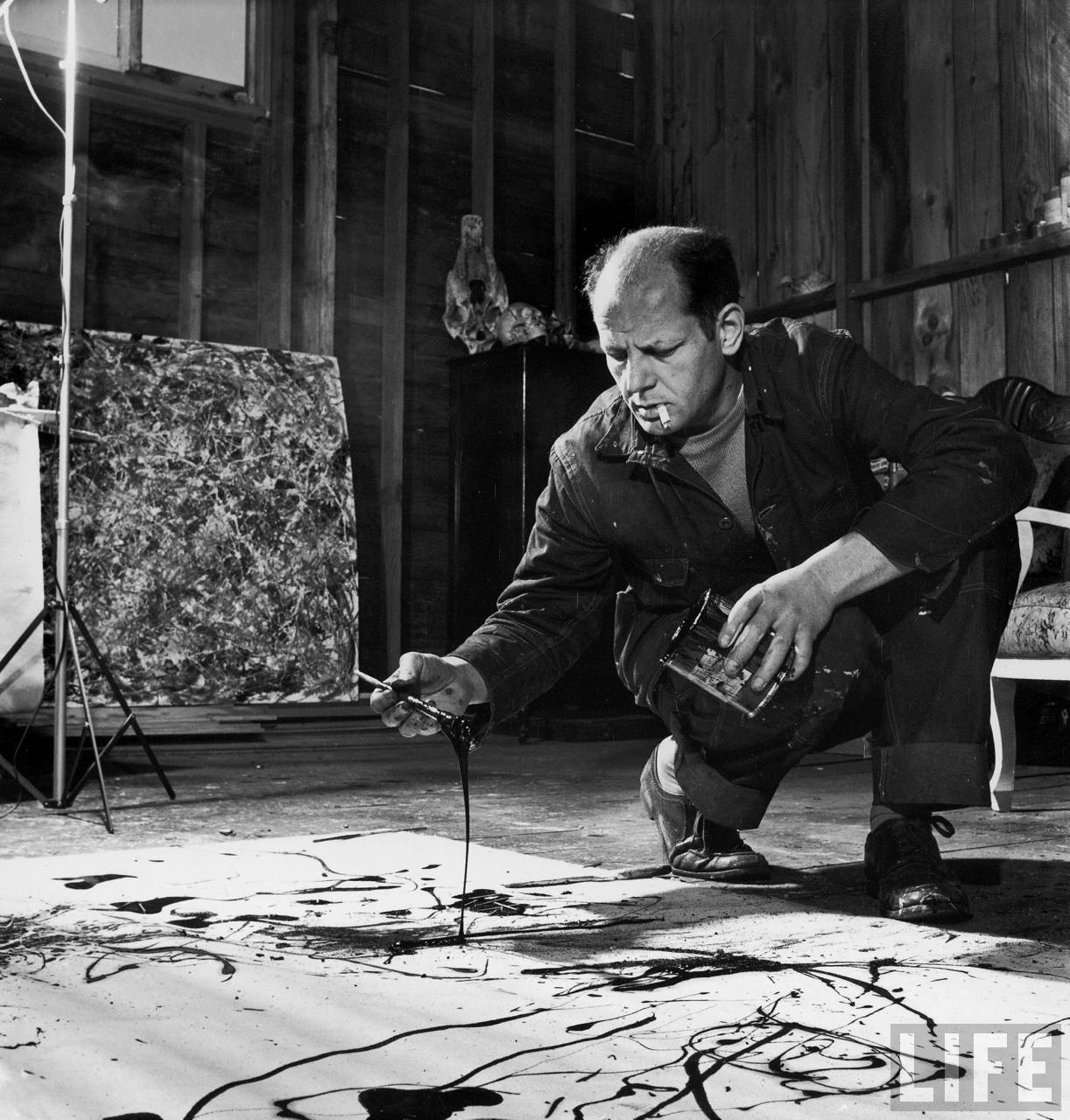 Jackson Pollock in his studio
