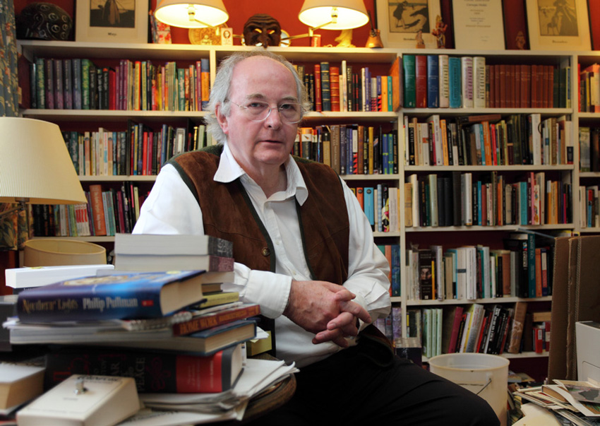 Philip Pullman in his reading room