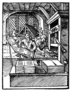 Early wooden printing press, depicted in 1568. Such presses could produce up to 240 impressions per hour