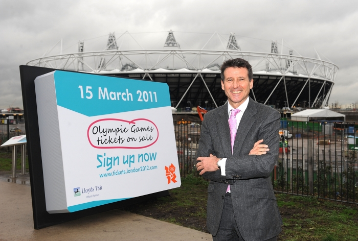 Sebastian Coe announcing that release date for Olympic tickets last year