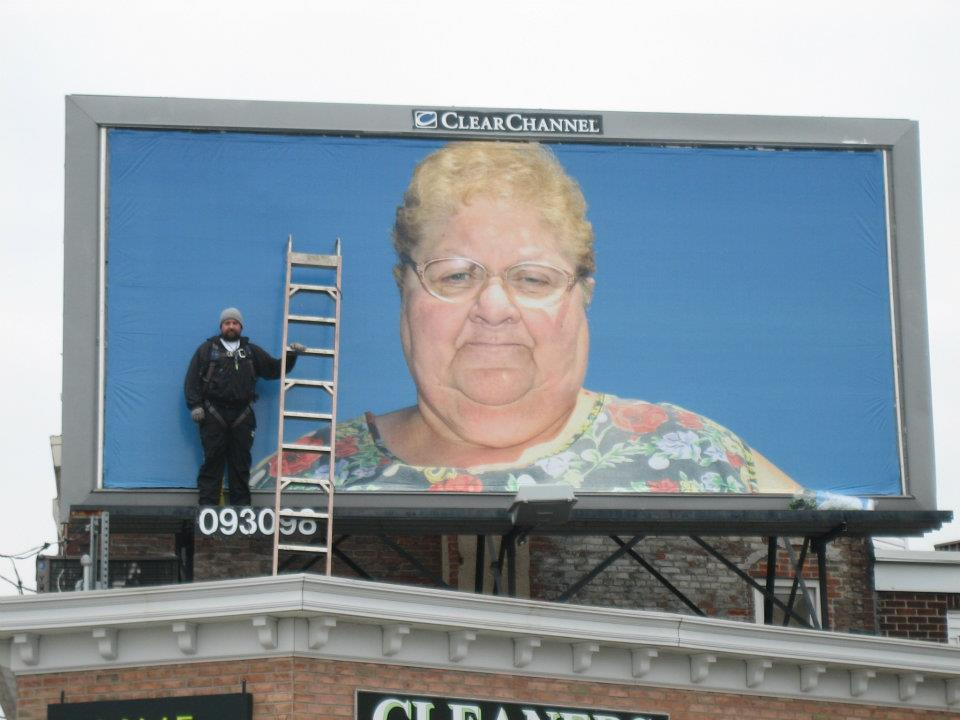 'Ms. Antoinette Conti, La Corona' on a billboard in Philadelphia