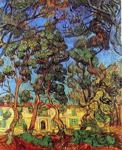 Trees in Front of the Entrance of the Asylum, Vincent Van Gogh