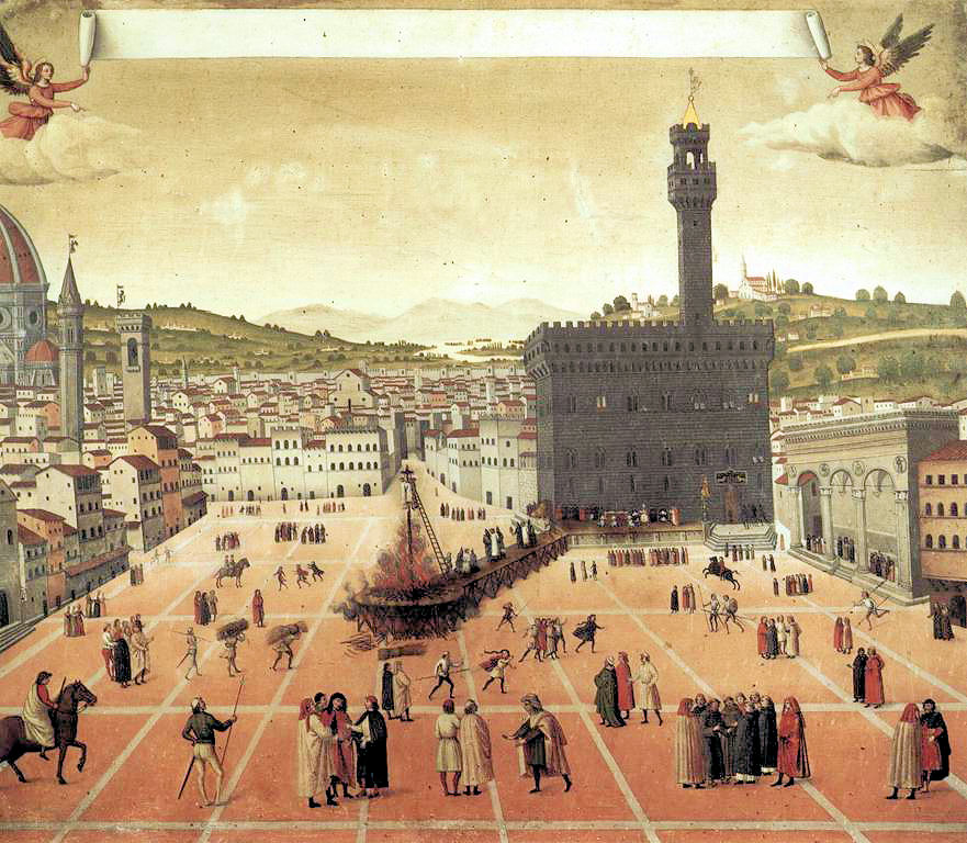 Hanging and burning of Girolamo Savonarola in Piazza della Signoria in Florence in 1498. Anonymous painting from 1498, in the Museo di San Marco, Florence