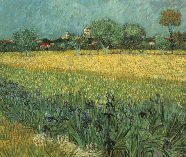 View of Arles with Irises in the Foreground (Van Gogh, 1888, oil on canvas)