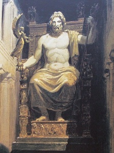 The gold-and-ivory statue of Zeus inside the Temple of Zeus at Olympia