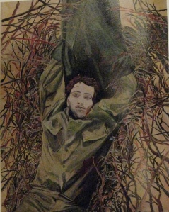 Dead Soldier Painting, 1983, oil on canvas, by Pamela Levi