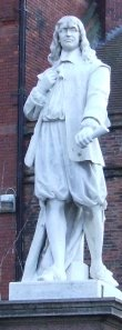 A statue of Andrew Marvell, located in the Marketplace, Kingston upon Hull, UK