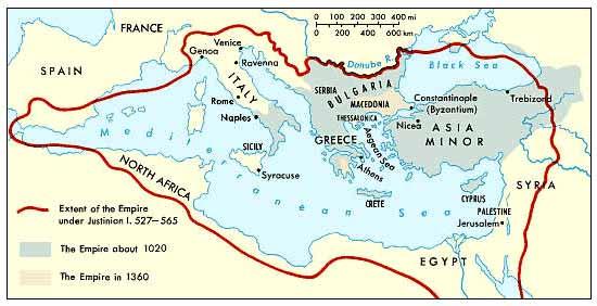 Map illustrating the shrinking of the Byzantine Empire