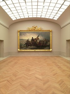 The fully-restored 'Washington Crossing the Delaware', hanging in the dramatic new American Wing