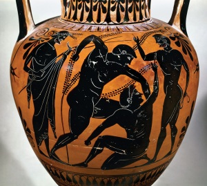 A black-figure vase-painting of the pankration, a martial art event at the Greek Olympic Games
