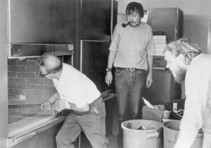 Baldessari (right) oversees the destruction of his work