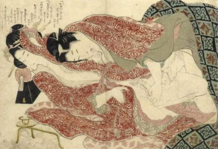 Katsushika Hokusai, Ehon tsuhi no hinagata (illustration of a loving couple), 1811-1816