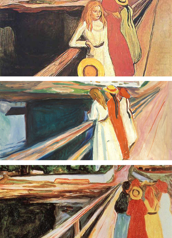 Different versions of Munch's 'Girls on the Bridge' motif