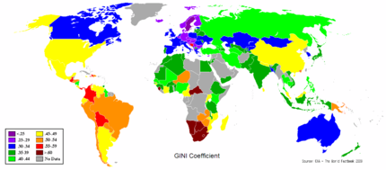 Gini coefficient of national income distribution around the world