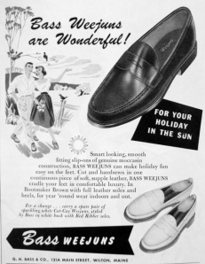 Advertisement for the Bass Weejun penny loafer