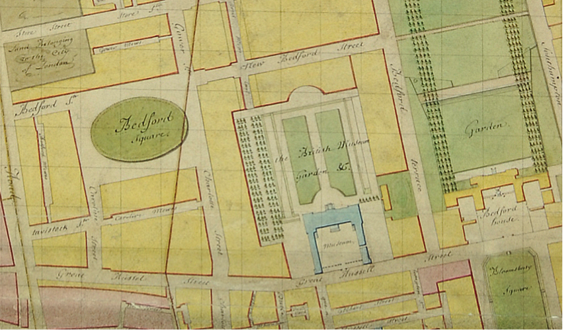 Bedford Square, detail from a plan of the Bedford Estate, c.1795