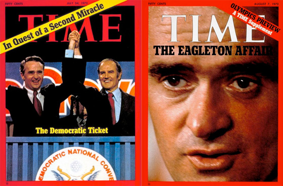 Contrasting Time Magazine covers, published during the McGovern campaign